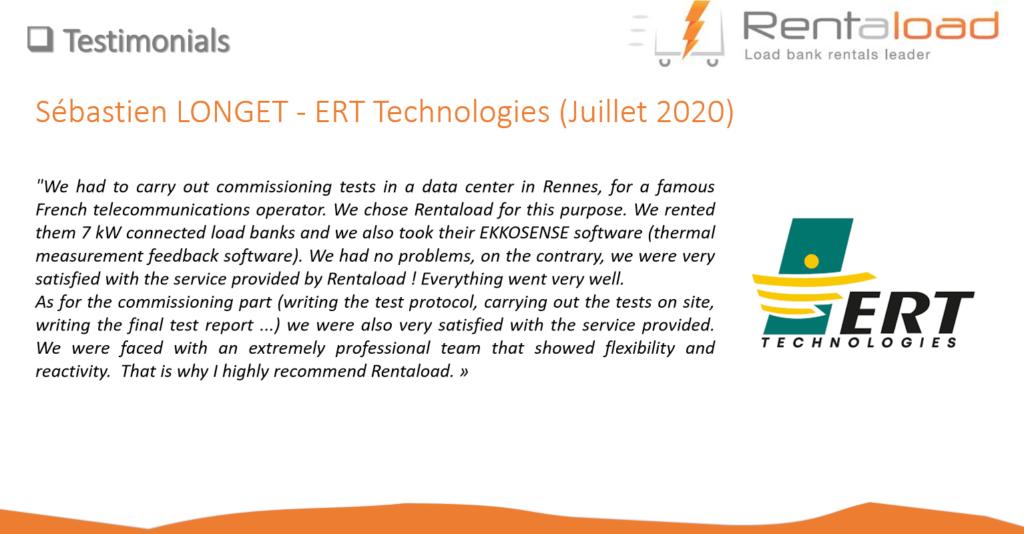 Customer testimonial ERT TECHNOLOGIES